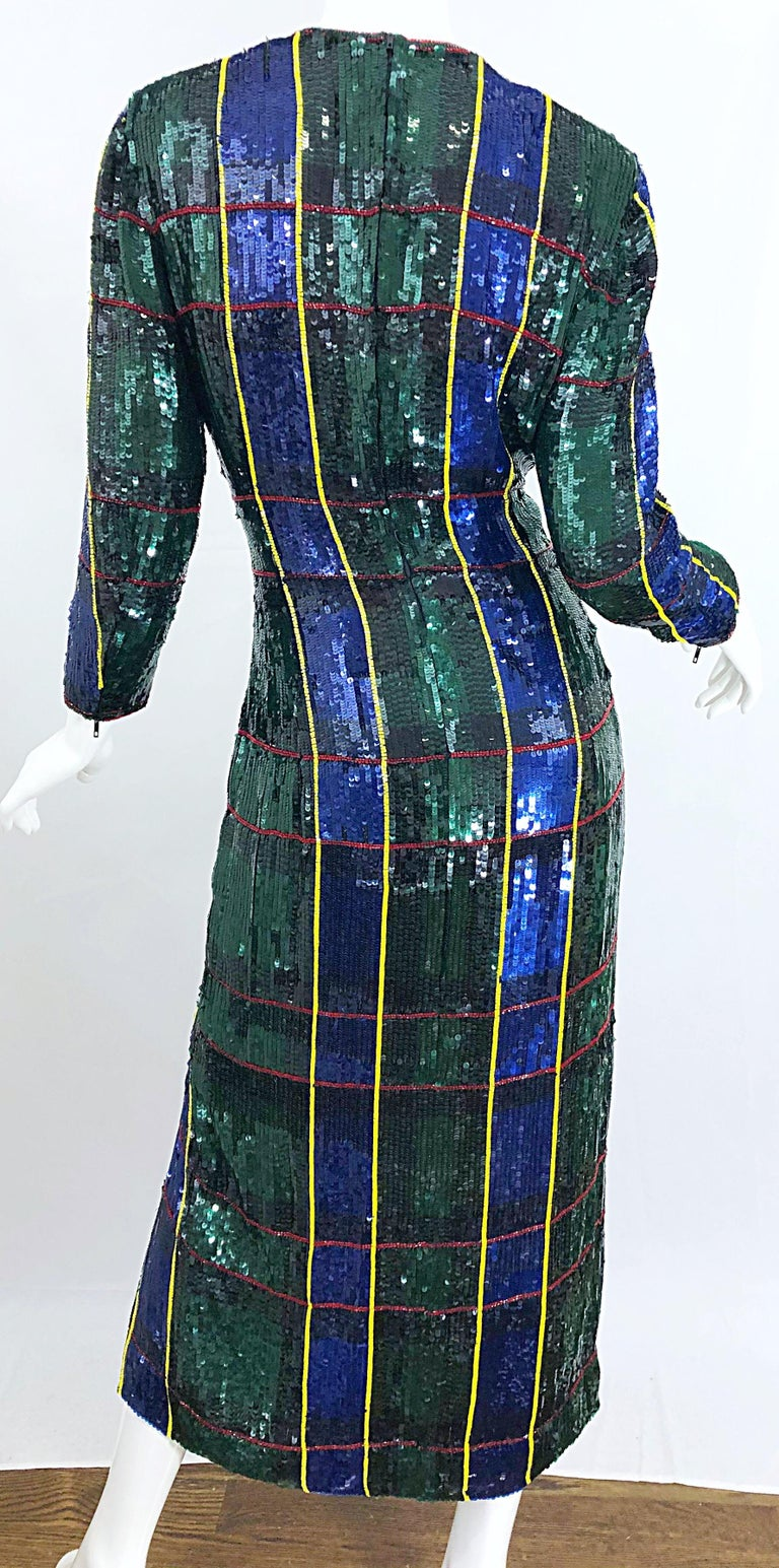 1990s Escada Couture Tartan Plaid Fully Sequined Silk Vintage 90s Evening Gown For Sale 5
