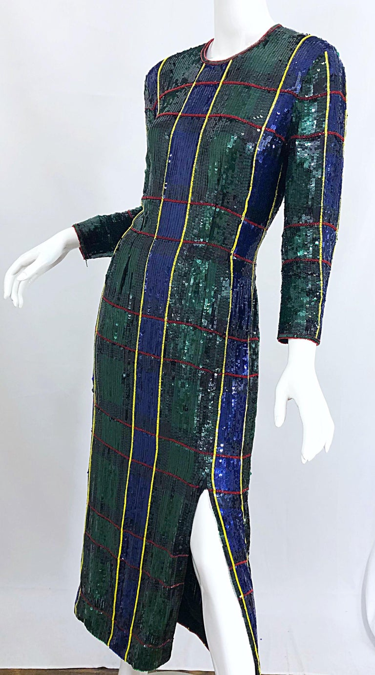 1990s Escada Couture Tartan Plaid Fully Sequined Silk Vintage 90s Evening Gown For Sale 6