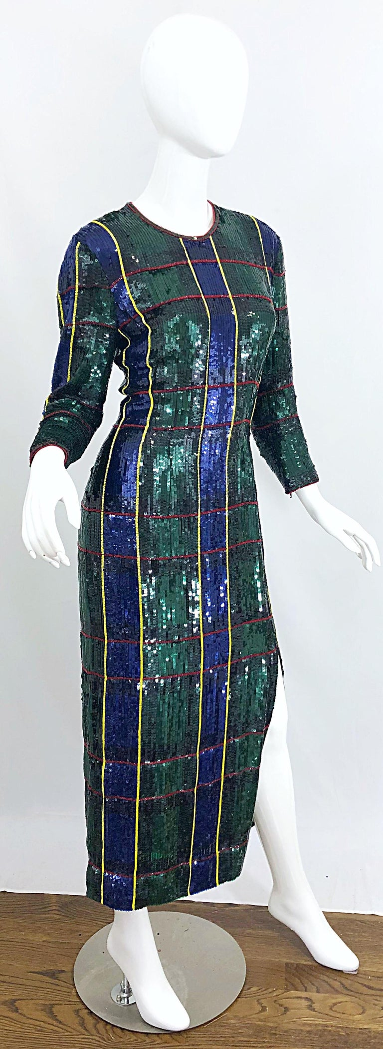 1990s Escada Couture Tartan Plaid Fully Sequined Silk Vintage 90s Evening Gown For Sale 7