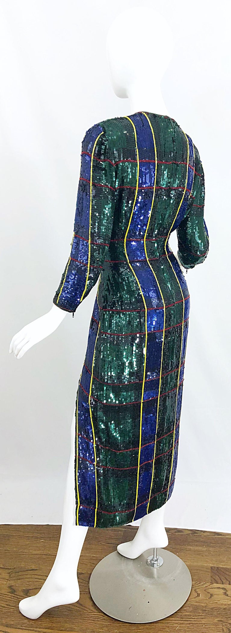1990s Escada Couture Tartan Plaid Fully Sequined Silk Vintage 90s Evening Gown For Sale 8
