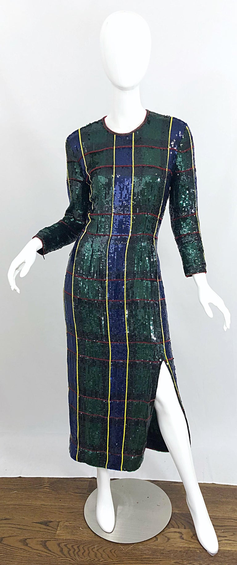 1990s Escada Couture Tartan Plaid Fully Sequined Silk Vintage 90s Evening Gown For Sale 9