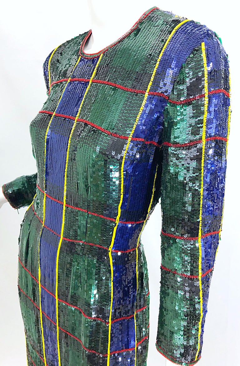 Black 1990s Escada Couture Tartan Plaid Fully Sequined Silk Vintage 90s Evening Gown For Sale