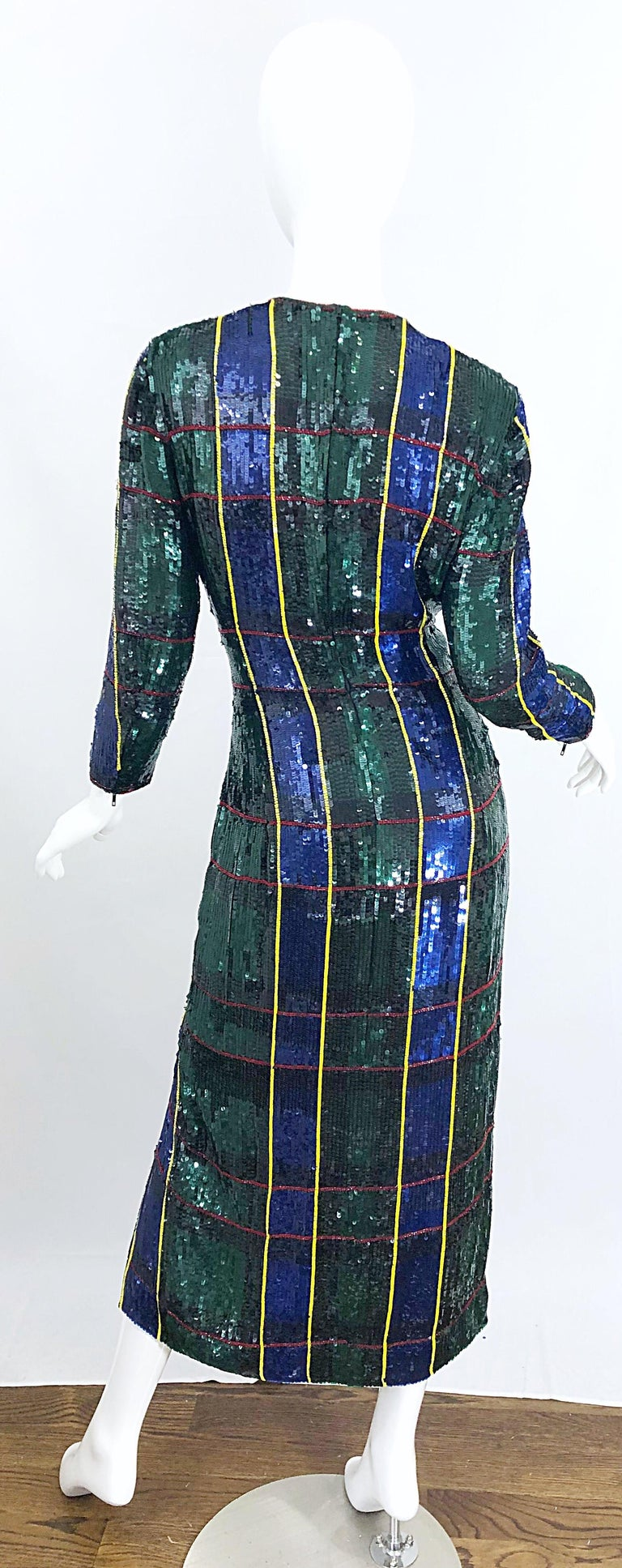 1990s Escada Couture Tartan Plaid Fully Sequined Silk Vintage 90s Evening Gown In Excellent Condition For Sale In Chicago, IL