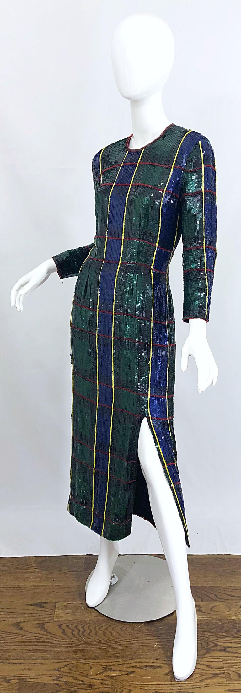 Women's 1990s Escada Couture Tartan Plaid Fully Sequined Silk Vintage 90s Evening Gown For Sale
