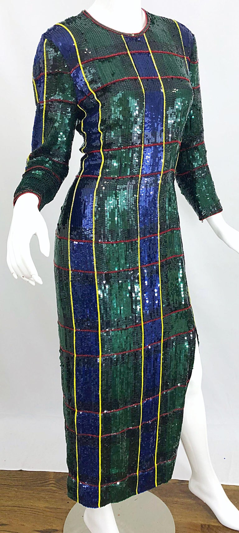 1990s Escada Couture Tartan Plaid Fully Sequined Silk Vintage 90s Evening Gown For Sale 1