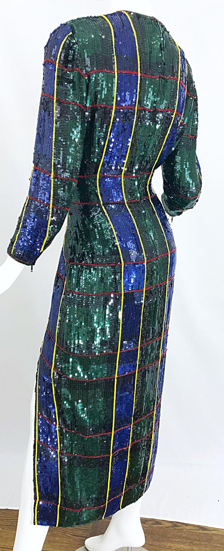 1990s Escada Couture Tartan Plaid Fully Sequined Silk Vintage 90s Evening Gown For Sale 2