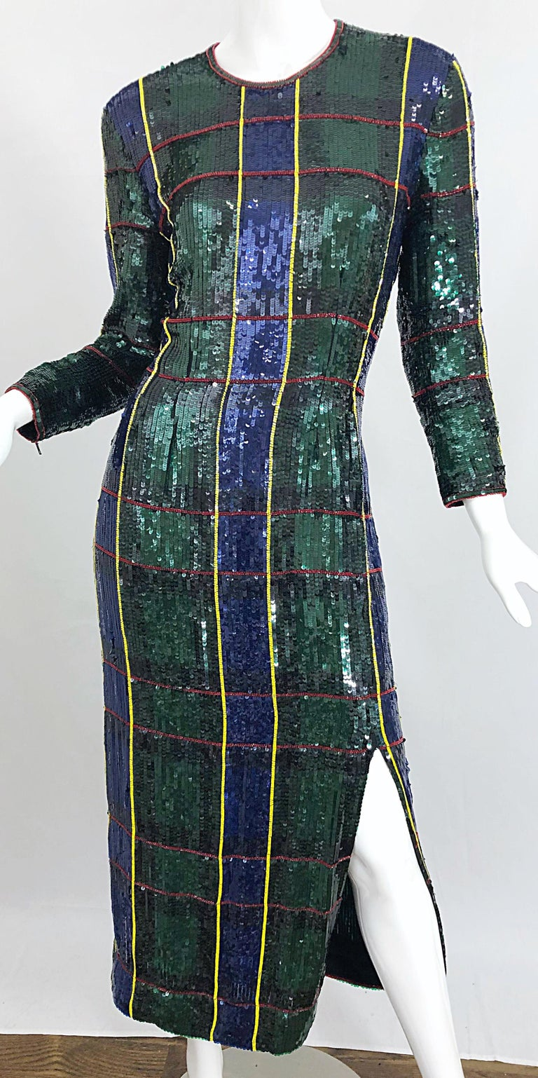 1990s Escada Couture Tartan Plaid Fully Sequined Silk Vintage 90s Evening Gown For Sale 3