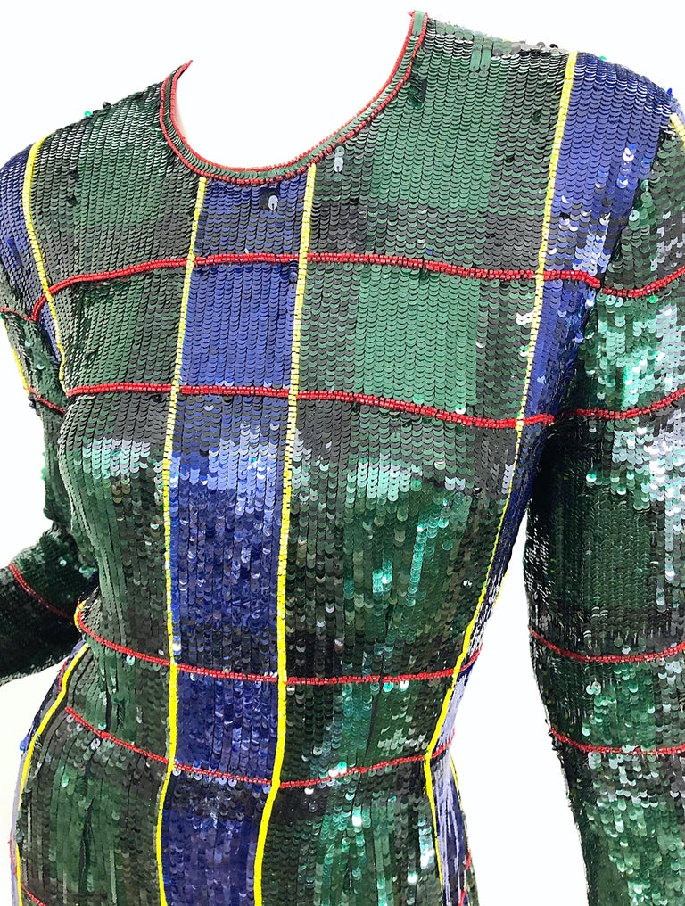 1990s Escada Couture Tartan Plaid Fully Sequined Silk Vintage 90s Evening Gown For Sale 4