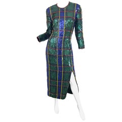 1990s Escada Couture Tartan Plaid Fully Sequined Silk Vintage 90s Evening Gown