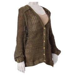 "1990S Escada Olive Green Suede ""Knit"" Cardigan Jacket"
