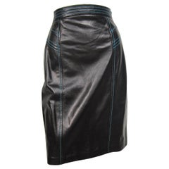 1990's Escada Skirt Black leather High waist Blue Detailing New, Never Worn