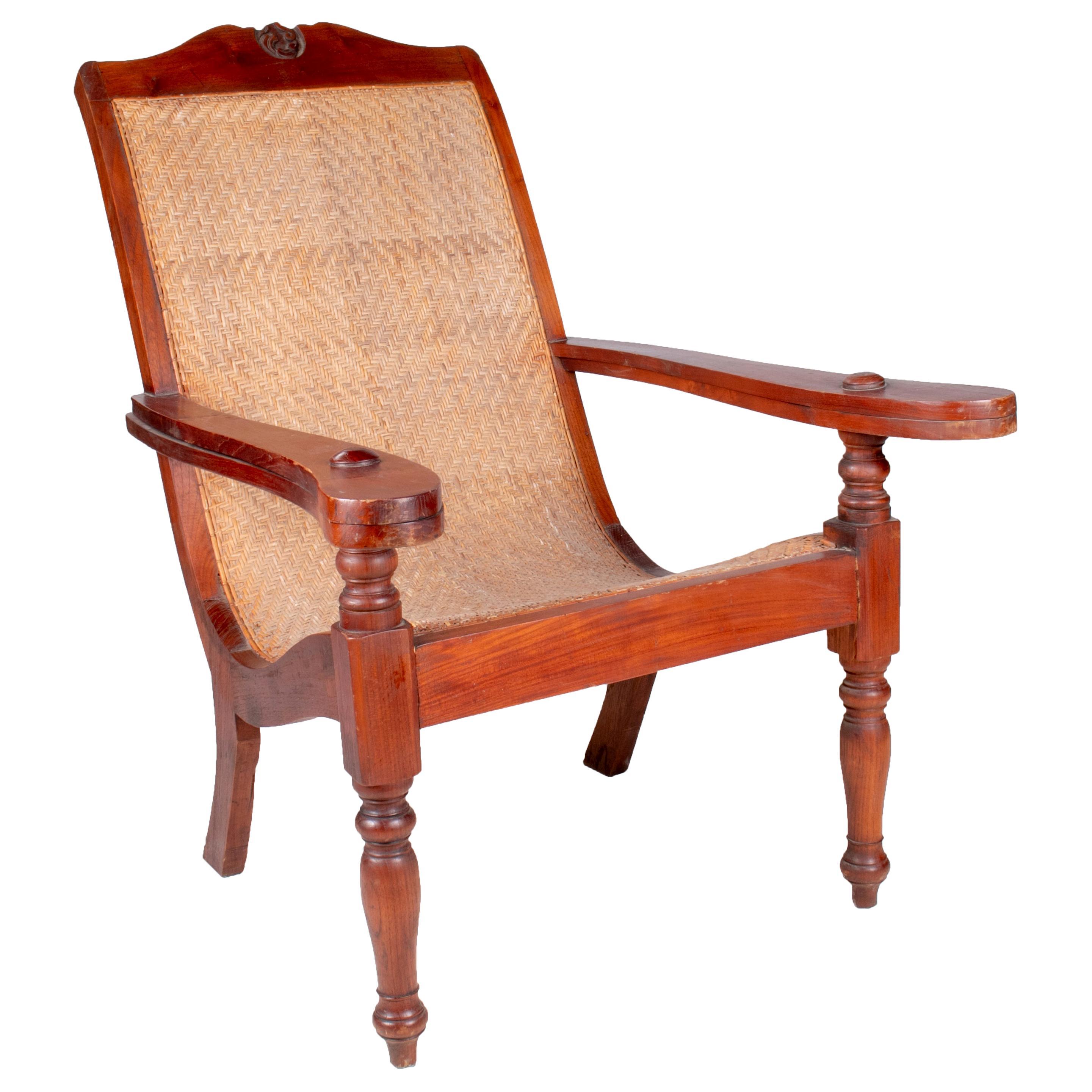 1990s European Mahogany Rattan Lace Cane Armchair