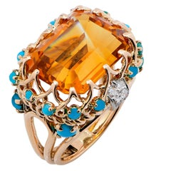 1990s Faux Turquoise Citrine Diamond Gold Ring
