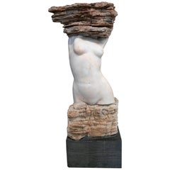 1990s Female Torso Hand Carved Abstract Marble Sculpture on a Black Base