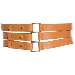 1990'S Fendi Brown Leather Belt With Three Straps