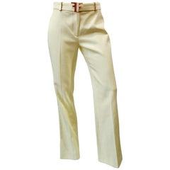 Fendi 1990s Pastel Yellow Pants With Logo Belt