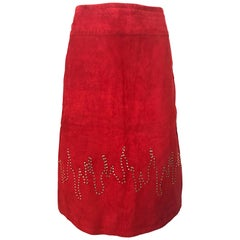 1990s Fire Engine Red Suede Leather + Rhinestones Flames Vintage Late 90s Skirt