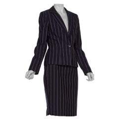 1990'S Fitted Pinstripe Skirt Suit