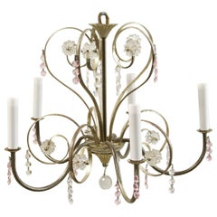 1990s Five-Arm Petite Nickel-Plated Floral Style Chandelier