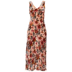 1990's Floral Burnout Velvet Gown By Anna Sui