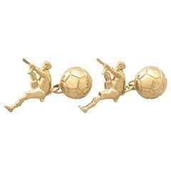 1990s Football Cufflinks in Yellow Gold