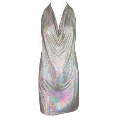 1990's Fred Hayman Silver Rainbow Metal Chainmail Halter Micro Mini Dress