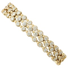 1990s French 12.96 Carat Diamond and Yellow Gold Bracelet