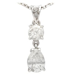 1990s French 1.55 Carat Diamond and White Gold Pendant