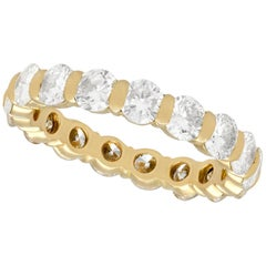 1990s French 2.72 Carat Diamond Yellow Gold Eternity Ring