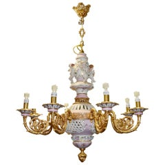 1990s French 8 Bronze Arms Porcelain and Glass Ceiling Chandelier