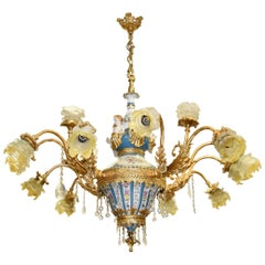 1990s French Bronze, Porcelain and Glass Ceiling Chandelier