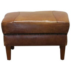 1990s French Brown Leather Footrest with Studded Detail Accents