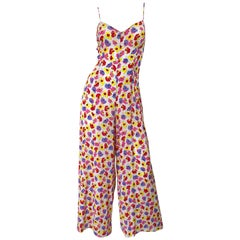 1990s French Designer Pink Purple Yellow Flower Poppy Print Wide Leg Jumpsuit