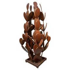 1990s French Iron Cactus Sculpture