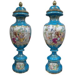 1990s French Pair of Blue Hand Painted Porcelain Table Vases with Scenes