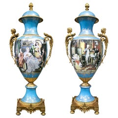 1990s French Pair of Hand Painted Porcelain and Bronze Table Vases with Scenes