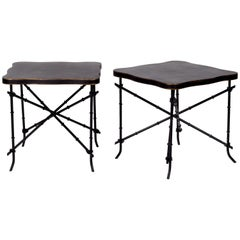 1990s French Pair of Iron Base and Wooden Top Black Side Tables