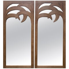 1990s French Pair of Palm Shaped Bamboo Mirrors