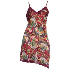 1990s Galliano Christian Dior Floral Jersey & Lace Slip Dress NWT
