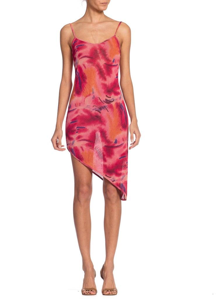 1990s Galliano Slinky Jersey Pink Tie-Dye Dress For Sale 7