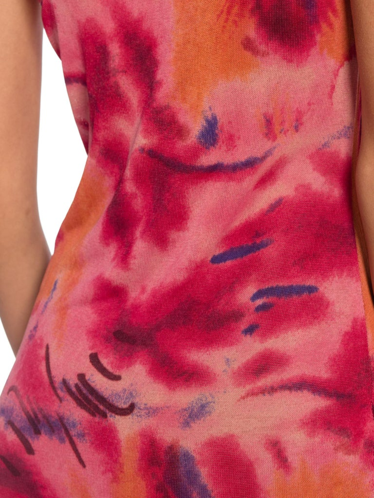 1990s Galliano Slinky Jersey Pink Tie-Dye Dress For Sale 9