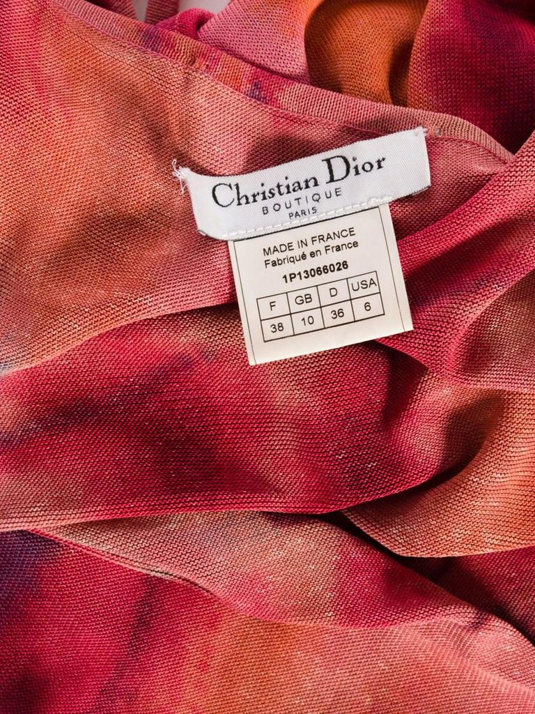 1990s Galliano Slinky Jersey Pink Tie-Dye Dress For Sale 10