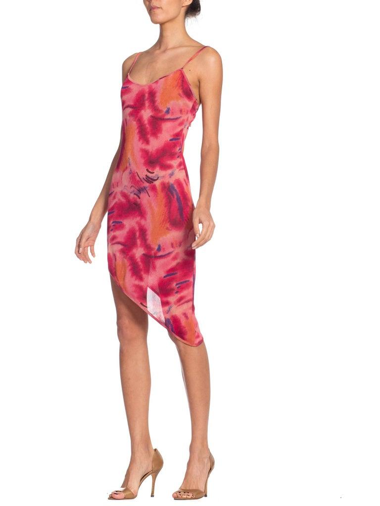 Women's 1990s Galliano Slinky Jersey Pink Tie-Dye Dress For Sale
