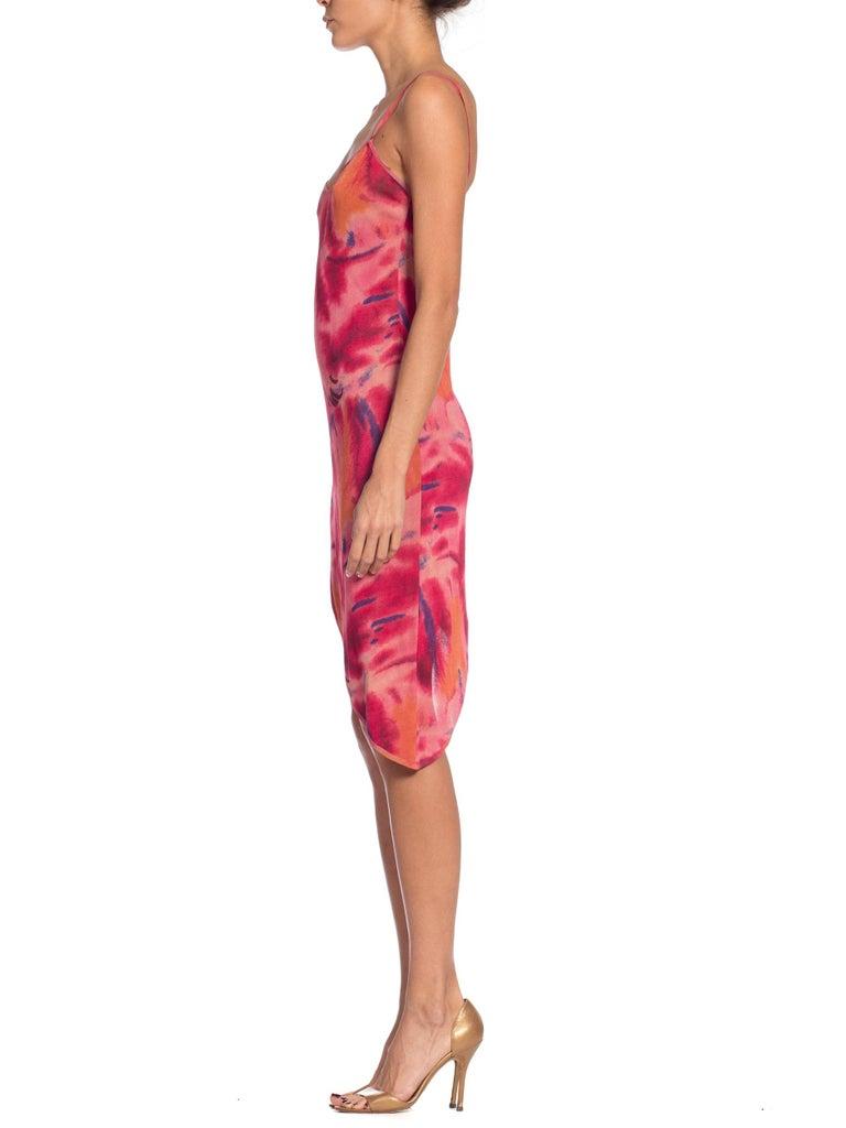 1990s Galliano Slinky Jersey Pink Tie-Dye Dress For Sale 1
