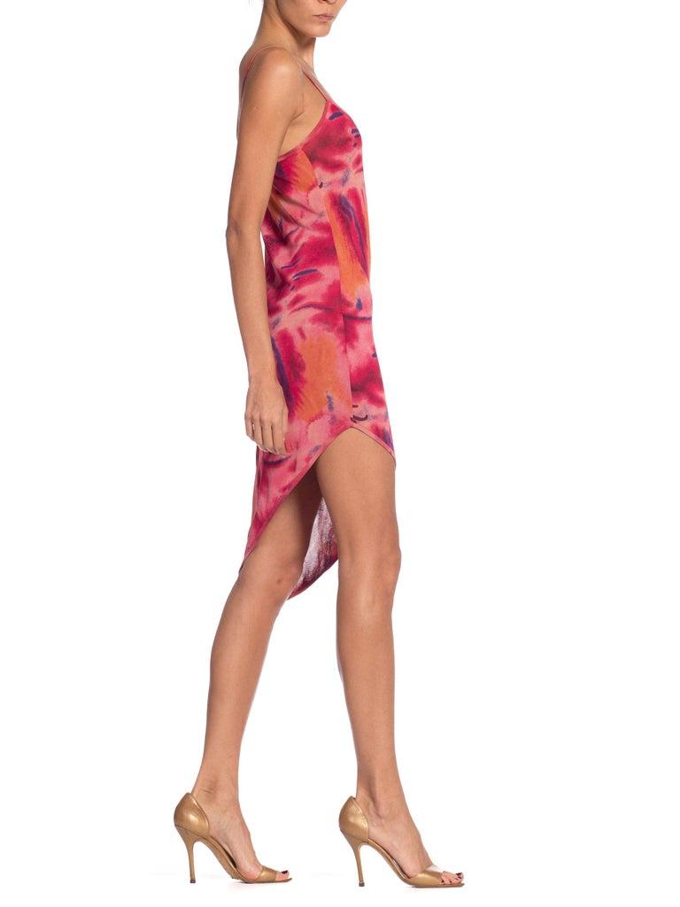 1990s Galliano Slinky Jersey Pink Tie-Dye Dress For Sale 3