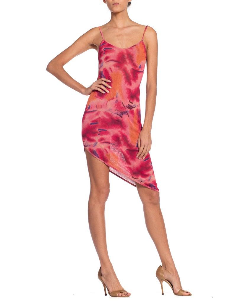 1990s Galliano Slinky Jersey Pink Tie-Dye Dress For Sale 5
