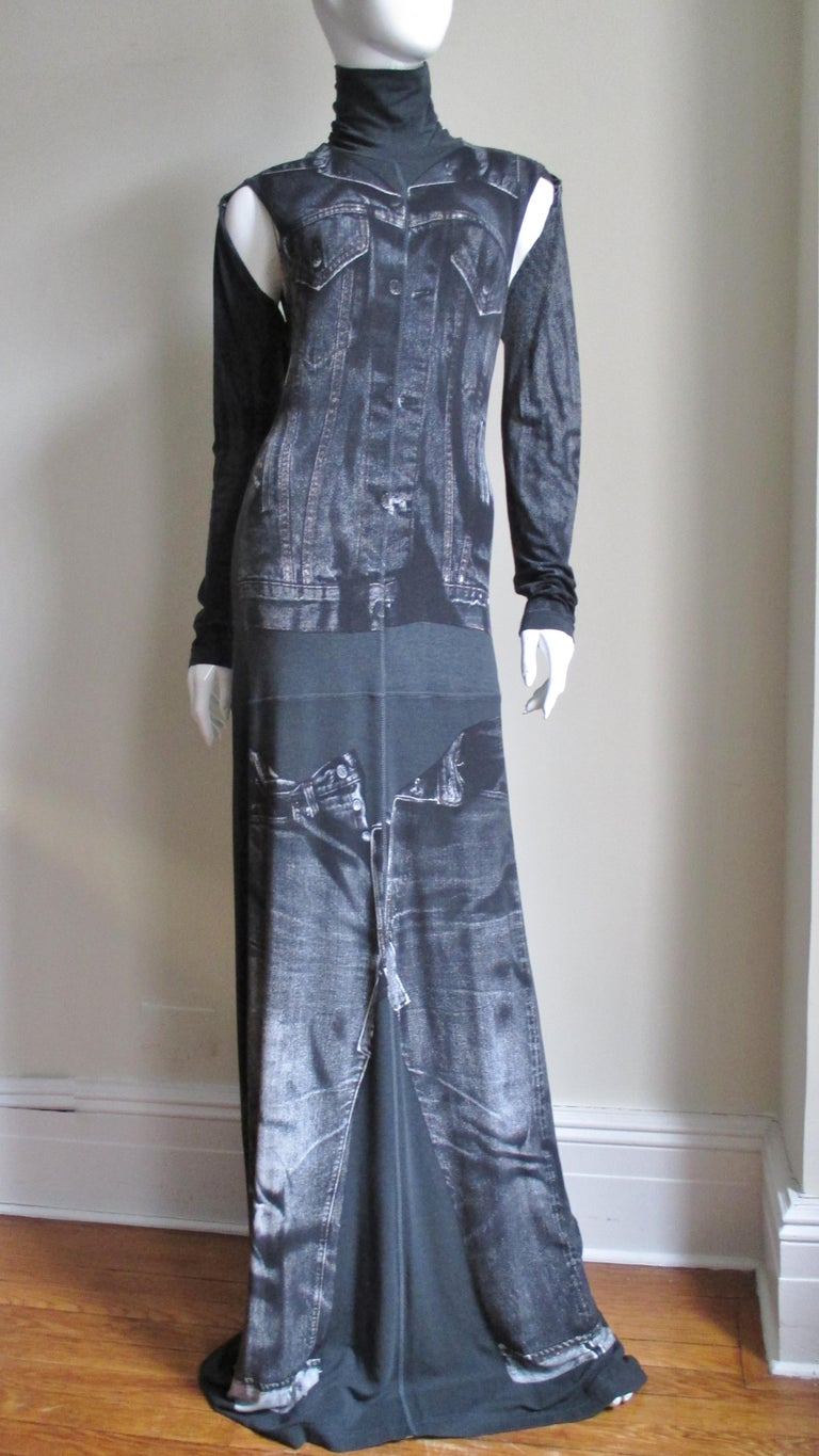 1990s Gaultier Trompe L'oeil Maxi Dress with Removable Sleeves For Sale 5