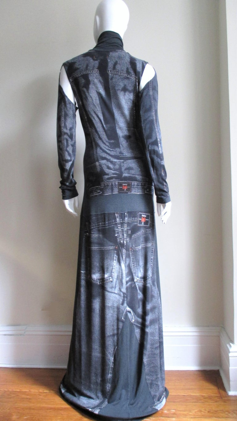 1990s Gaultier Trompe L'oeil Maxi Dress with Removable Sleeves For Sale 7