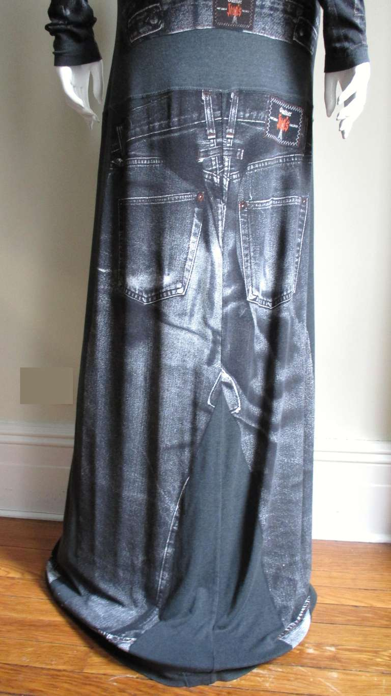 1990s Gaultier Trompe L'oeil Maxi Dress with Removable Sleeves For Sale 9