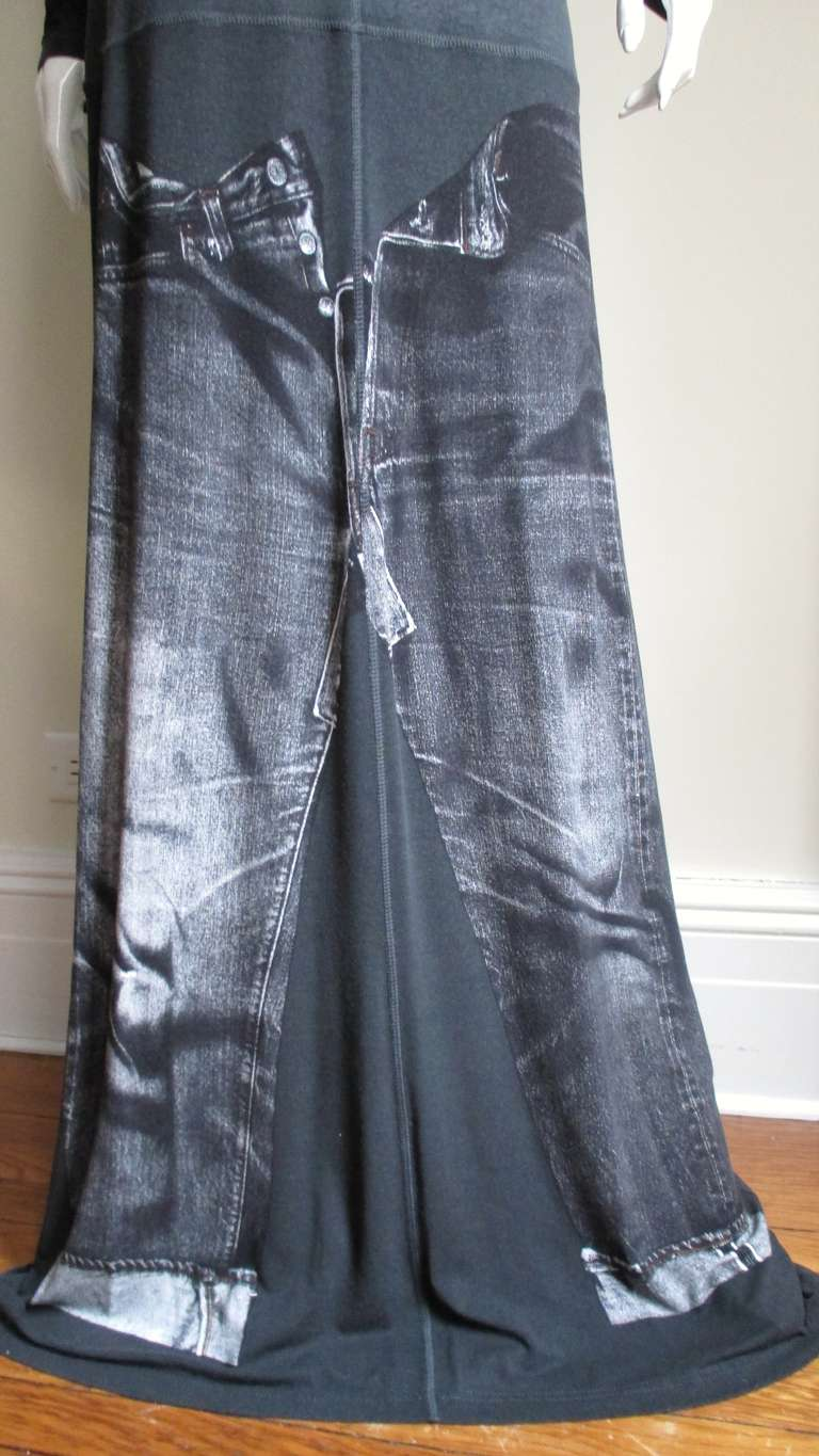 1990s Gaultier Trompe L'oeil Maxi Dress with Removable Sleeves For Sale 4